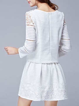 Elegant Lace Trim Hollow Two-pieces Outfit