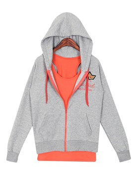 Recreational Hooded Zip-Front Three-Piece Outfit