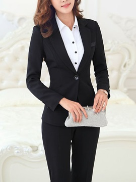 Pure Color One-Button Blazer & Skinny-Leg Pant