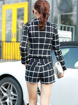 Delicate Plaid Printed Blazer & Straight-Leg Short