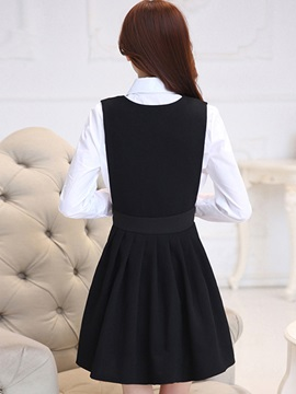 Long-sleeved Two Pieces Dress Suit