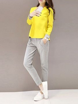 Casual Color Block Top & Pleated Harem Pant