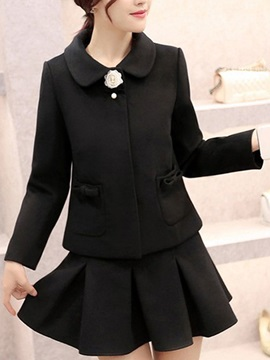 Solid Color Lapel Collar Blazer & Pleated Skirt