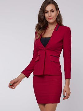 Delicate V-Neck Contrast-Trim Blazer & Bodycon Skirt