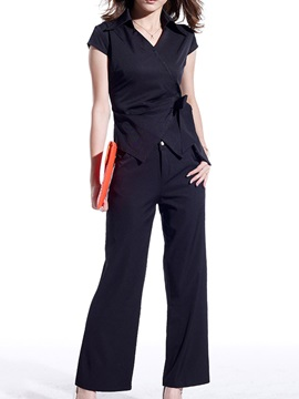 Delicate Lapel Collar Side-Tie Top & Loose-Fit Pant