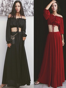 Elegant Slash Collar Long Sleeve Top & Long Skirt