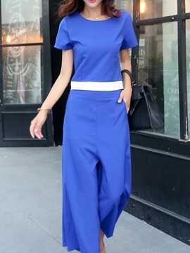 Simple Short Sleeve T-Shirt & Wide-Leg Pant