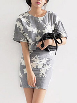 Elegant Floral Printing Two-Piece Dress