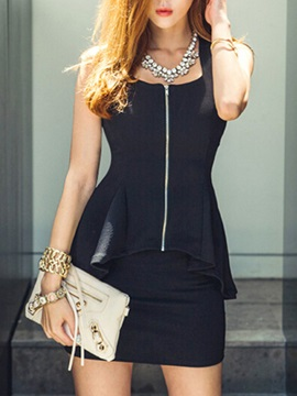 Solid Color Zip-Front Two-Piece Dress