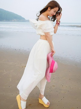 Stylish Chiffon Slash Collar Ruffles Two-Piece Dress