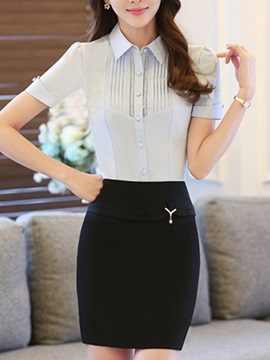 Elegant Button-Front Shirt & Sheath Skirt