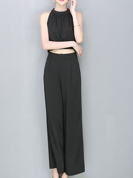 Elegant Plain Pleated Top & Pant