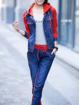 Simple Denim Hooded Jacket & Loose-Fit Jean