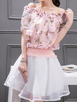 Vogue Floral Ruffles Top & A-Line Skirt
