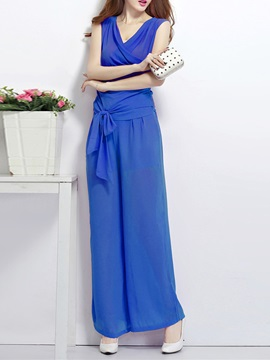 Solid Color Pleated Strap Bowknot Jumpsuit