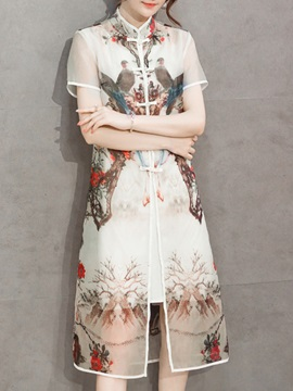 Floral Printing Chiffon Dress Suit