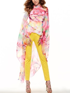 Floral Printing Mesh Top Pants Suit