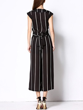 Black And White Striped Printed Palazzo Pants Suit