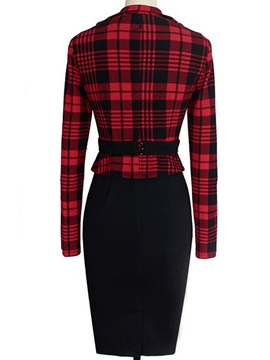 Plaid Printed Bowknot Buckle 2-Piece Sets