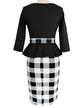 Contrast Color Falbala Wear To Work 2-Piece Sets
