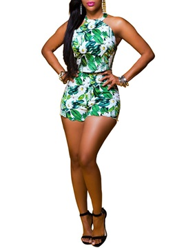 Floral Printing Ethic Halter 2-Piece Sets