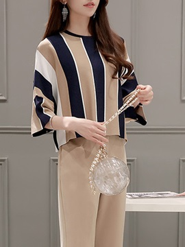 Striped Color Block Pleated Falbala Pants 2-Piece Sets
