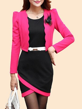 Contrast Color Wear To Work Dress Suit