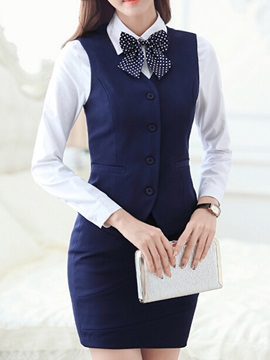 Lapel Solid Color Skirt Suit