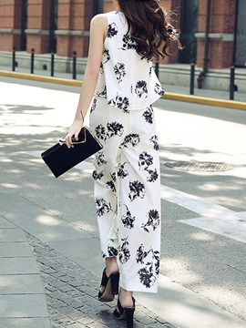 Floral Printing Round Neck Palazzo Pants 2-Piece Sets