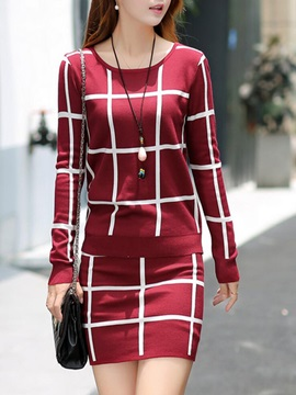 Striped Plaid Printed Skirt Suit