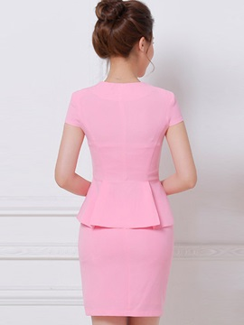 Buckle Solid Color Falbala Skirt Suits