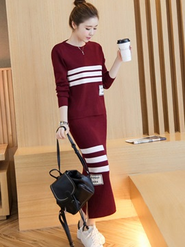 Striped Printed Long Sleeve 2-Piece Sets