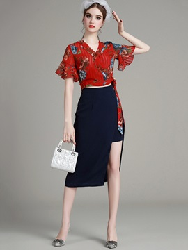 Floral Printing Chiffon Top Placket Skirt 2-Piece Sets
