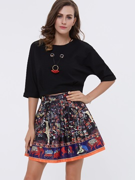 Red Top Floral Print Skirt 2-Piece Sets
