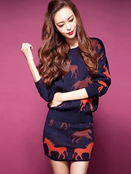 Animal Printed Knitwear 2-Piece Sets