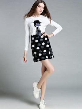 White Shirt Dots Printed 2-Piece Sets