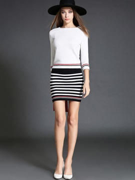 Acrylic Striped Printed Skirt 2-Piece Sets