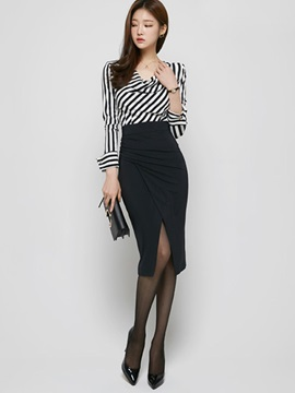 Striped Printed Black Placketing Skirt 2-Piece Sets