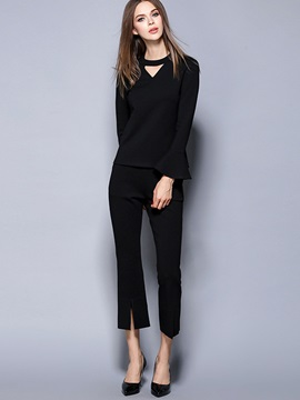 Black Simple Top Pants 2-Piece Sets
