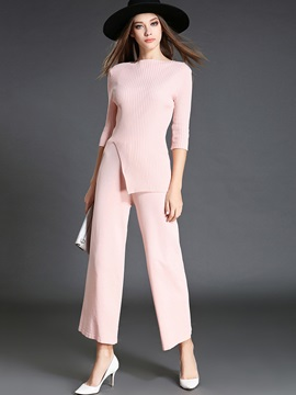 Serenity Rose Quartz Knitwear Top Pants 2-Piece Sets