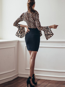 Leopard Printed Bowknot Placketing Black Skirt 2-Piece Sets