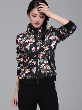 Floral Printing Sports Coat Pants 2-Piece Sets