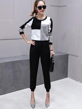 Color Block Wear To Work Casual 2-Piece Sets