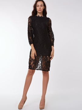 Black Lace Dress Placketing Skirt 2-Piece Sets