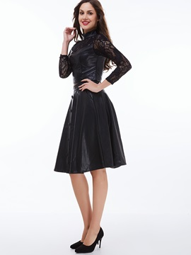 Black Lace Patchwork Leather Skirt 2-Piece Sets