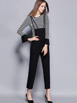 Striped Printed Knitwear Top Overall 2-Piece Sets