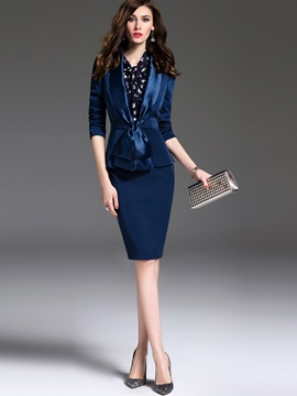 Wear To Work Blue Skirt Suit