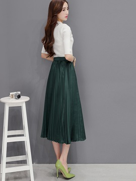 White Shirt Pleated Long Skirt 2-Piece Sets