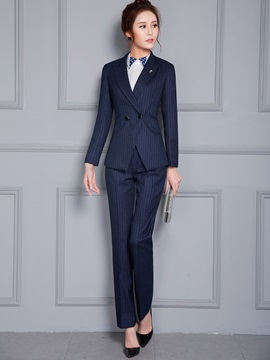Formal Lapel Double-Breasted Pants Suit