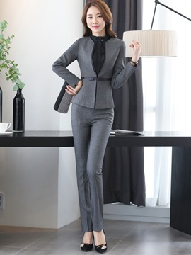 Formal Lapel Shirt Bowknot Patchwork Pants Suit